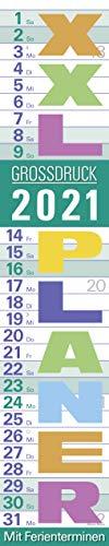 XXL Planer Großdruck pastell 2021: Streifenkalender mit Datumsschieber, Ferienterminen, Spiralbindung und extra großer Schrift I schmal im Format: 17 x 85 cm