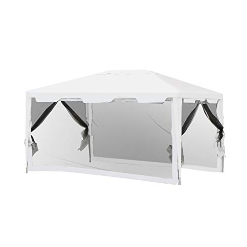 Outsunny 3 x 4m Party Tent Outdoor Gazebo Garden Canopy Party Wedding Shelter w/Mesh Mosquito Netting (3 x 4m)