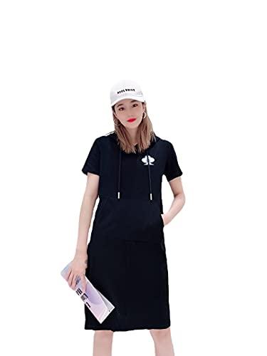 2021 Verano Nuevo Bordado Sombrero Temperamento Moda Tejido Brocado T Falda Suelta Vestido Femenino (Color : Black, Tamaño : L)