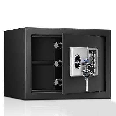 Caja de seguridad de gabinete digital de acero sólido con cerradura de llave, pequeña caja de seguridad para almacenamiento de efectivo de joyería de hotel de oficina en casa (tamaño: 25x35x28cm)