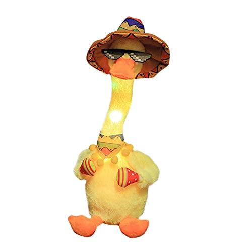 luminiu Wiggling Tanzende Ente Spielzeug Mit Sonnenbrille Und Hut, 60 Lieder, Mexikanischer Stil, Singendes Plüsch, Mit Beleuchtung Und Aufnahme Für Kinder,Singende Entlein Plüsch-Puppe Für Kinder,