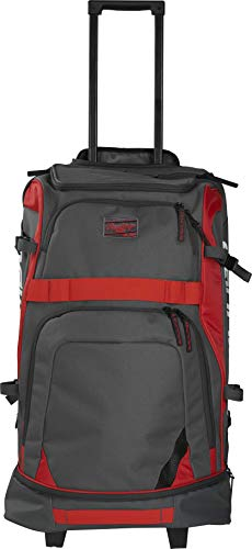 Rawlings R1801 Wheeled Baseball/Softball Catcher's Protective Gear Backpack with Extendable Handle, Scarlet