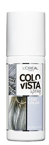L'Oréal Paris Colovista 1-Day Color Spray #GREYHAIR, Farbspray für die Haare, auswaschbar mit nur einer Haarwäsche, in Hellgrau, #DOITYOURWAY, 75 ml