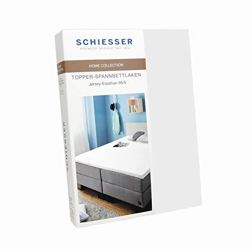 Schiesser Topper-Spannbettlaken Jersey-Elasthan, Baumwolle, Farbe:weiß, Größe:180 cm x 200 cm