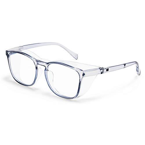 Protective Eyewear Safety Goggles Clear Anti-fog/Anti-Scratch Safety Glasses Men Glasses, Transparent Frame (Transparent&blue)