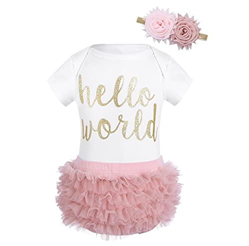 Freebily Vêtement Bébé Fille Naissance Body Barboteuse Imprimé Hello World + Bloomer Culotte Elastique + Serre-tête Fleur Bandeau Bébé Combinaison Salopette Romper Blanc & Rose 3 Mois