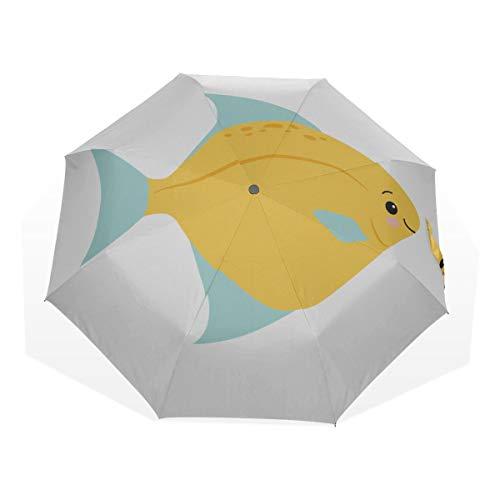 Mädchen Sonnenschirm Kawaii Netter gelber Fisch Leichte 3-Fach Kunstschirme (Außendruck Kinder Sonnenschirm Kompakter Außenschirm Faltschirm Männer
