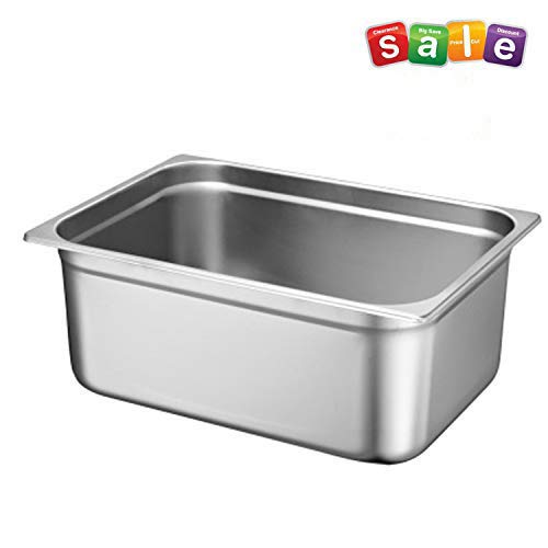 small Full size deep steam table pan, 6 inches, SST, standard weight, 21 liters