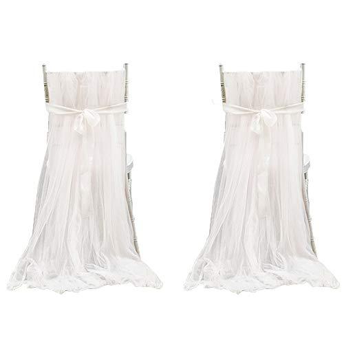 MAICHIHUOY Stuhl Husse, 2 Stück weicher länger Tüll Stoff Stuhlhussen Stuhlbezug Stuhlüberzug Stuhlschleifen für Hochzeit Weihnachten Haus Party Dekoration (Weiß)