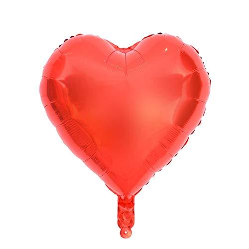 COHU Preciosos Globos de Mylar con Forma de corazón a Prueba de explosiones, Globos de Papel con Forma de corazón, duraderos para Fiestas(Red)