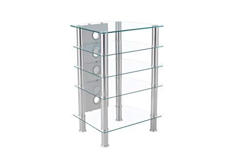 MT Products MMT Support hifi en verre transparent 5 étagères