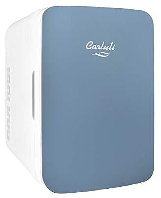 Cooluli Infinity Blue 10 Liter Compact Portable Cooler Warmer Mini Fridge for Bedroom, Office, Dorm, Car - Great for Skincare & Cosmetics (110-240V/12V)