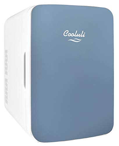 Cooluli 10L Mini Fridge for Bedroom - Car, Office Desk & College Dorm Room - 12v Portable Cooler & Warmer for Food, Drinks, Skincare, Beauty & Makeup - AC/DC Small Refrigerator with Glass Front, Blue