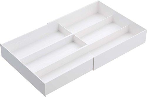 山崎実業 スライド式 カトラリー収納 伸縮&スライド カトラリートレー プレート ホワイト 3384