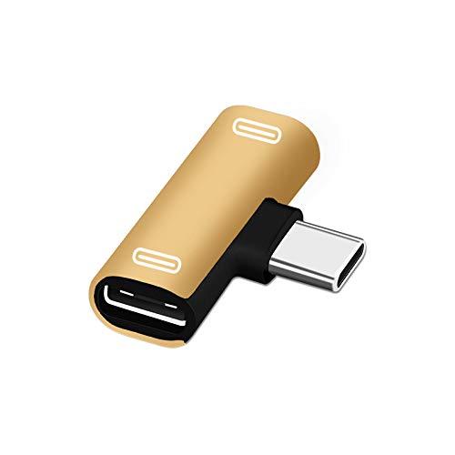 BEESCLOVER Adaptador de cargador de audio dual tipo C USB-C para auriculares X-iaomi 6 6X 8 Note3 Mix 2 H-uawei Mate 10 P20 Gold Transfer doble puerto tipo C para ce