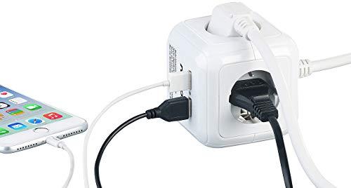 revolt Steckdosenwürfel: 4-fach-Steckdosen-Würfel mit 2 USB-Ladeports und Halterung...