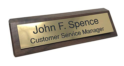 Personalized Desk Name Plate - Walnut - Includes Engraving