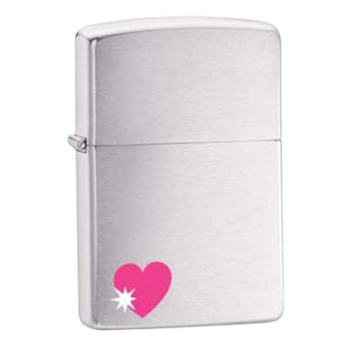 Lighter - Heart with Star Brushed Chrome