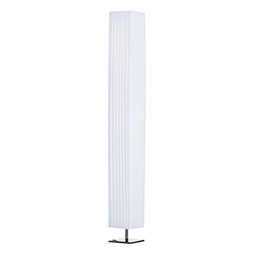 HOMCOM Stehleuchte Stehlampe Standlampe Standleuchte E27, Edelstahl+Polyester, Weiß, 14x14x120cm