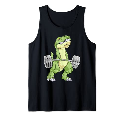 Dinosaurio Levantamiento de pesas T Rex Fitness Gym Entrenamiento Deadlift Camiseta sin Mangas