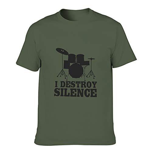 STELULI Camiseta de algodón para hombre, diseño con texto en inglés 'I Destroy Silence
