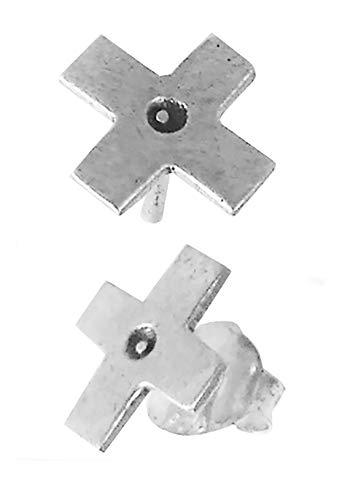 Pendiente pequeño en plata en forma de cruz. Pegados a la oreja. Unisex. Ligeros