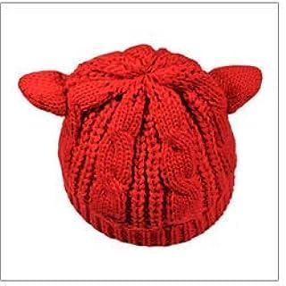 Monbedos Bonnet tricoté Chapeau épais d'automne et d'hiver Chapeau Chaud Convient aux Dames Forme d'oreille de Chat Bonnet...