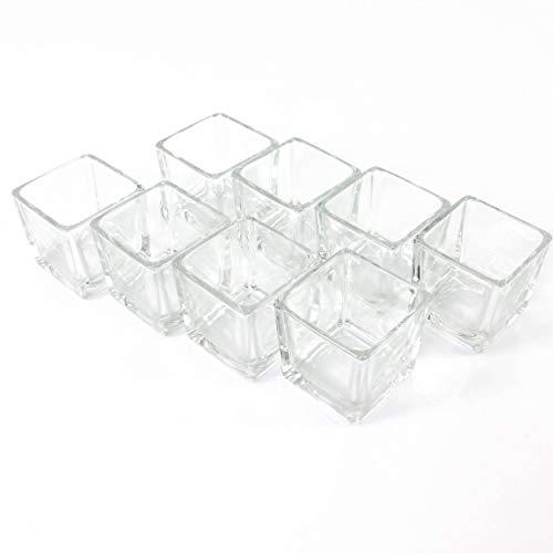 INNA-Glas 8xKleines Windlicht Glas - Teelichtglas Kim, klar, 6x6x6cm - Windlichtglas - Teelichthalter