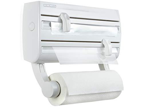 Leifheit Portarrollos de pared Parat F2, sujeta rollos de cocina con especiero, portarrollos blanco para film, papel de aluminio y papel de cocina