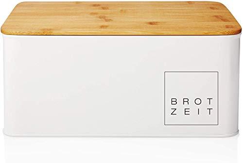 "Lumaland Cuisine Bread Box Metal - Bread Bin with Bamboo lid cutting board - Rectangular - 12"" x 9.2' x 5.5' - White"