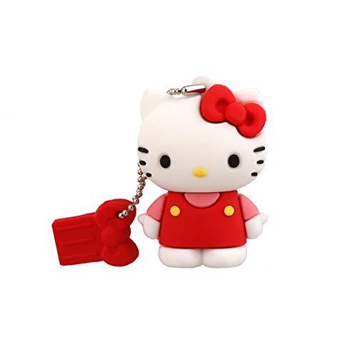 Memoria USB Flash Drive Pen Drive Memory Stick Unidad Pulgar Disco USB2.0 Encantador Hello Kitty Creativo Moda Anime Falda Basculante Estereoscópico Posición Sentarse Modelado (8GB,Rojo A)
