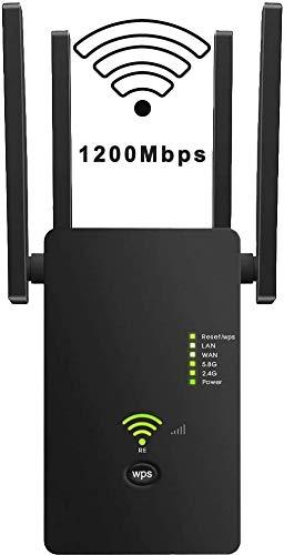 Ripetitore WiFi Wireless, AC1200 Mbps Amplificatore Segnale Wi-Fi, velocità Dual Band 2.4GHz/5GHz Supporta la modalità AP/Ripetitore/Router, Porta Ethernet,WPS,con 4 antenne Esterne
