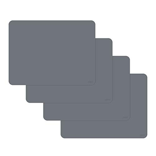 gasare, Silicone Placemats for Dining Table, Kids and Toddler Placemats, Table Mats, Non Slip, Washable, Heat Resistant, 20% Thicker, 16 x 12 inches, Set of 4, Grey
