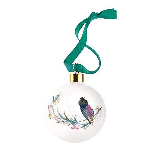 Portmeirion Home & Gifts - Pallina di Natale a forma di gufo, in ceramica, multicolore