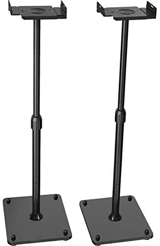 "PERLESMITH Universal Speaker Stands Height Adjustable Extend 18"" to 44"" Holds Satellite & Bookshelf Speakers (ie. Bose Polk Samsung Sony JBL PA DJ Klipsch) up to 11lbs -1 Pair"