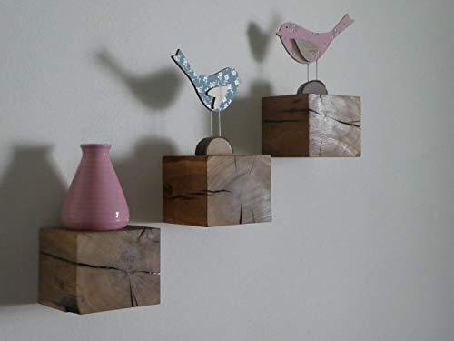 Die Gartenbeet-Kiste 3er Set Eichen Regal Rustikal Massiv Eichenregal Würfelregal