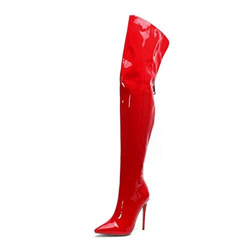 Botas Elásticas Sexys con Tacón de Aguja para Mujer, Botas Anchas Sobre La Rodilla de Pantorrilla para Mujer, Botas Altas de Piel Sintética con Cremallera Detrás de Muslo Ancho para Mujer,Rojo,41