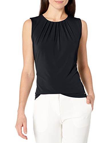 Calvin Klein Cami – Cuello Plisado Liso para Mujer, Marino, S