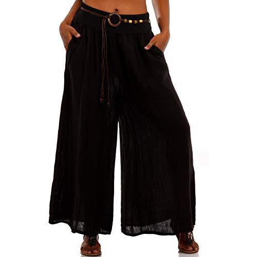 YC Fashion & Style Damen leinehose Leine Freizeithose Sommerhose naturfaser schwarz weiß Khaki Hose für Frauen Urlaub Strand Sommer (One Size, Schwarz)