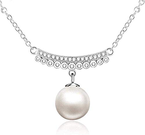 WLHLFL Necklace 925 Sterling Silver Chain Pendant with Silver Pearl Pendant Chain Charm for Women Jewelry Gift Necklace Pendant Necklace Girls Boys Gift