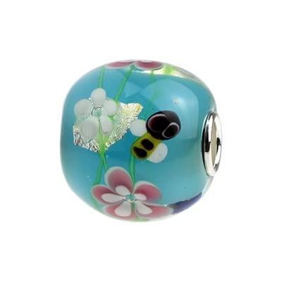 LIJIAN DIY 925 Sterling Silber Farbe 3D Liebe Schmetterling Blume Anhänger Glasperlen Geeignet Für Halskette Armband Schmuck Geschenk