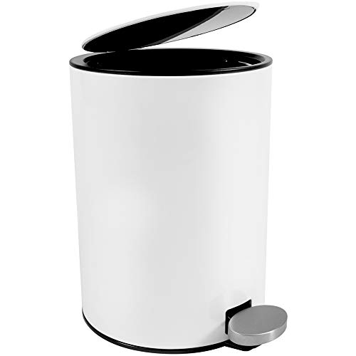 Bamodi Kosmetikeimer Edelstahl 3l - Badezimmer Mülleimer mit Softclose-System Zum Verlieben - Badeimer Absenkautomatik weiß - Bad