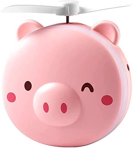Mini Ventilador USB, Ventilador de Espejo de Maquillaje de Belleza portátil, Recargable por USB, Mini Cerdo pequeño y Lindo, luz LED, Mini lámpara portátil con Ventilador y Cerdo (Color : Pink-02)