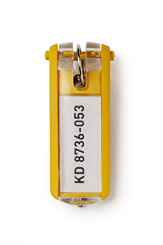 DURABLE Key Tags, Plastic, Yellow, 6-Pack (195704)