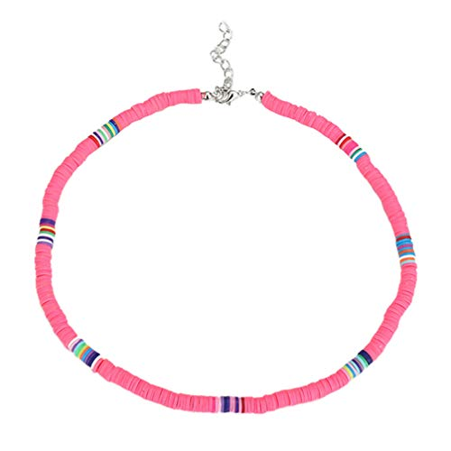 Holibanna Boho Choker Halskette Polymer Clay Choker Beach Party Halskette für Frauen Schmuck Geschenk (Korallenrosa 6Mm)