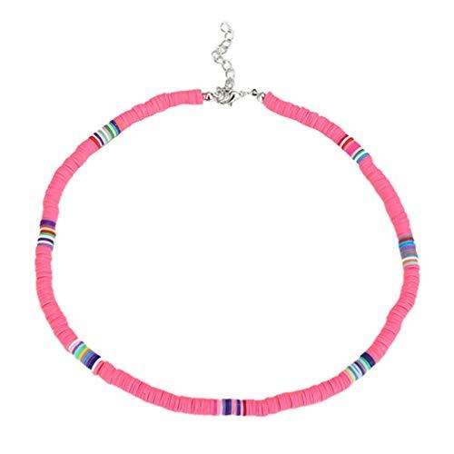 Holibanna Collar de Gargantilla Boho Gargantilla de Arcilla Polimérica Collar de Fiesta en La Playa para Mujer Regalo de Joyería (Coral Rosa 6 Mm)