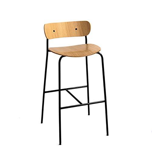 SQQSLZY Taburetes de Bar, Sillas de Bar, Sillas de Bar de Lujo Ligero, Sillas de Barra de Hierro Forjado de Madera Maciza, sillas Retro de Estilo Industrial, sillas de recepción, sillas Altas