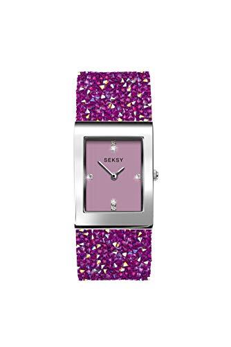 Seksy Damen-Armbanduhr mit Swarovski-Kristallen, wasserdicht, verstellbar Rosa Felsen