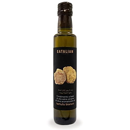 EATALIAN by AMZ BETTER Condimento a base de Aceite de Oliva Virgen Extra Aromatizado con Trufa Blanca, Aceite EVO de la almazara Moniga del Garda, botella de 0,25l, sin OMG