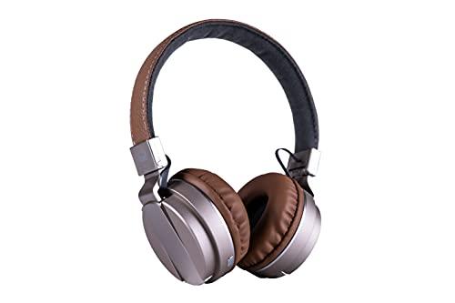 Auriculares plegables inalámbricos Daewoo DIBT2208, Bluetooth 5.0, batería recargable de iones de litio de 300 mAh, manos libres, funda para la cabeza de piel sintética, 20 Hz - 20 kHz (beige)